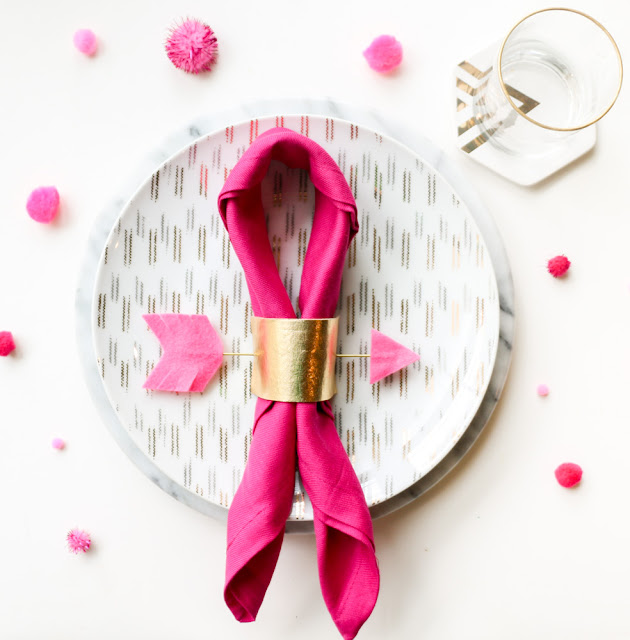 Gold and Pink Arrow Napkin Rings for Valentine's Day