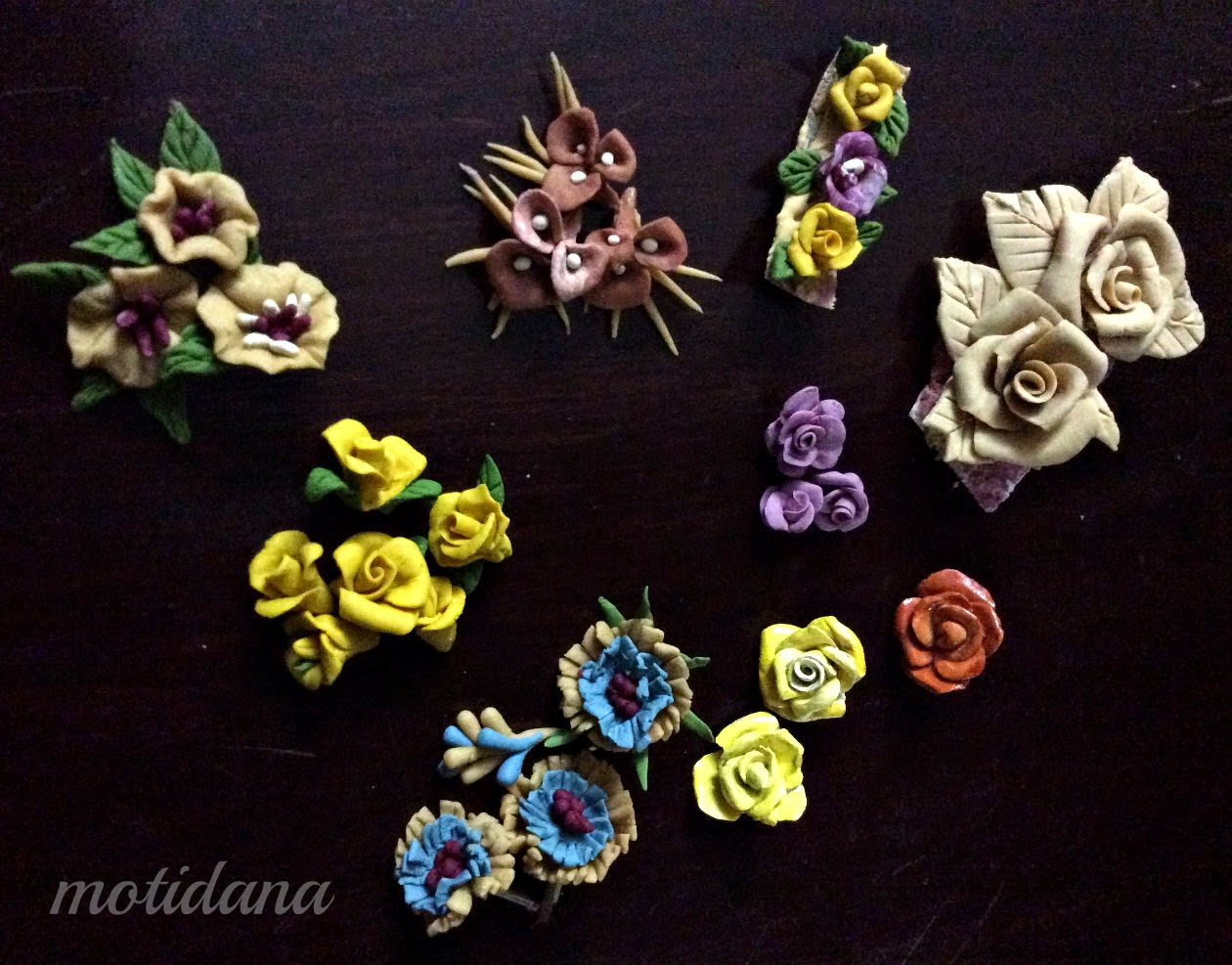 polymer clay flowers ,