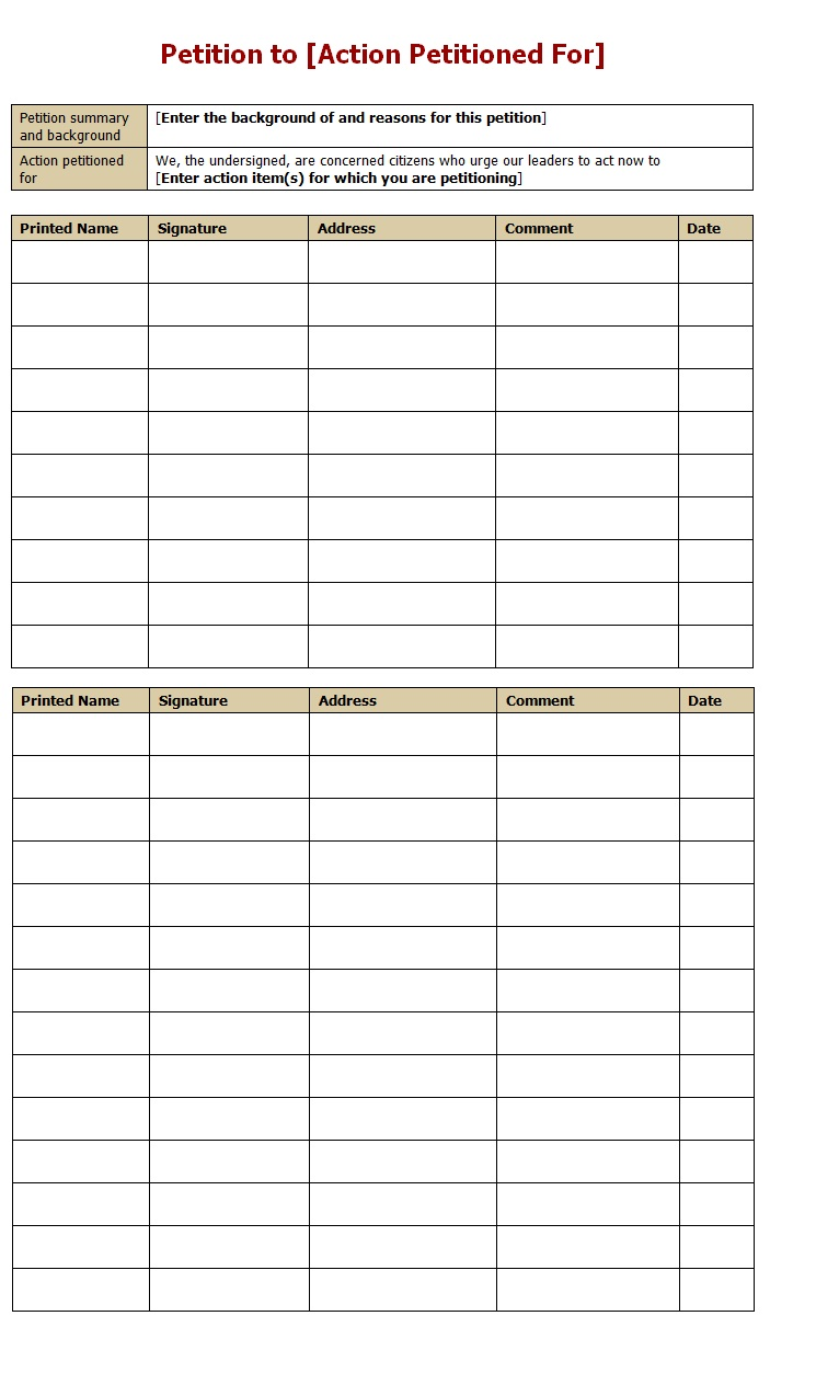 Petition form template sample for Template for petition signatures