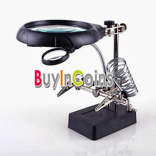 2.5X 7.5X 10X LED Helping Hand Clip Soldering Stand Magnifier Magnifying Clamp