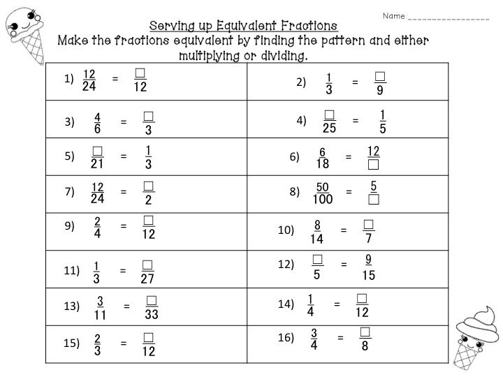 Its Fraction Time Fancy Free in Fourth – Matching Equivalent Fractions Worksheet