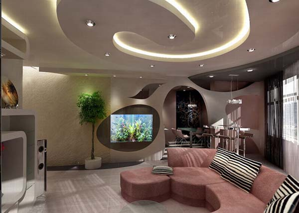 Living Room False Ceiling Designs 600 x 428