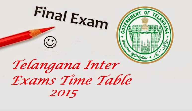 TS Intermediate Exams Time Table 2015