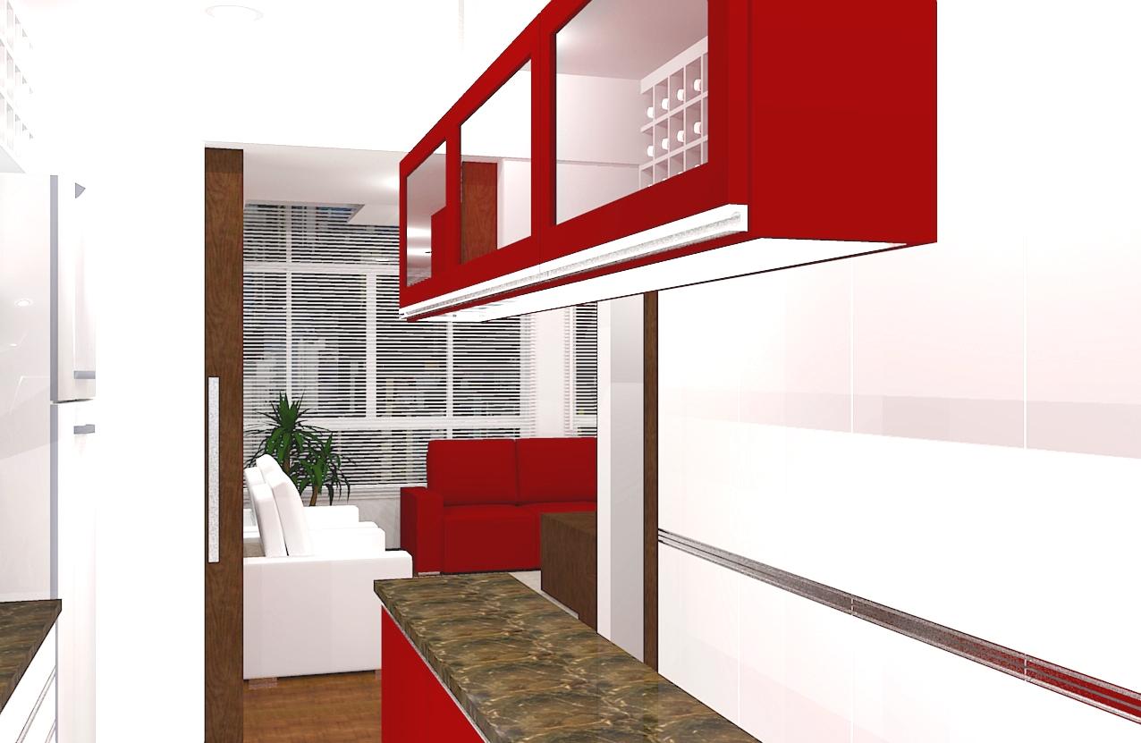 vista da cozinha para sala de estar #AE0D0D 1276 831