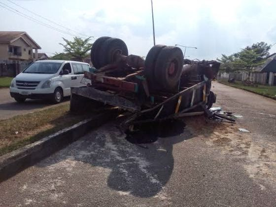 trailer rolled over new owerri imo state
