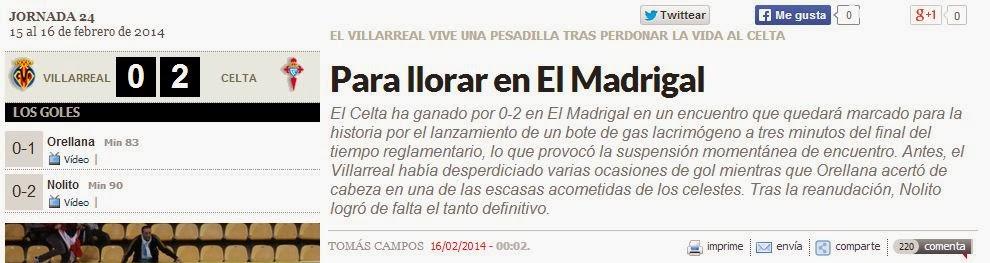 Lanzamiento de gas lacrimógeno en el Madrigal, Villarreal-Celta, titular Marca