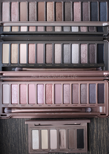 in love with life vergleich swatches urban decay naked 1 3 basics. Black Bedroom Furniture Sets. Home Design Ideas