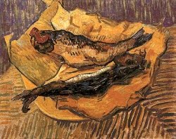 Natureza morta de arenque defumado sobre papel amarelo