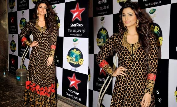 Daisy Shah in Black and Golden Long Anarkali Frock Suit by Mayyur Girotra