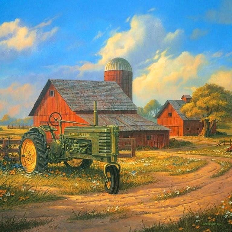 Pintura moderna y fotograf a art stica paisajes con - Paisajes de casas de campo ...