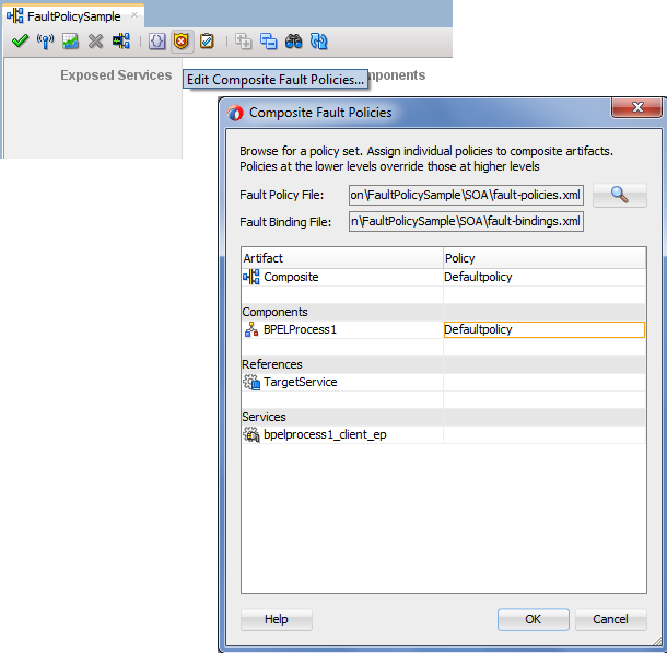 Llink Fault Policy file to Fault Binding
