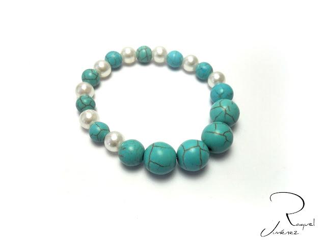 pulsera turquesa y perlas