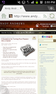 Screenshot of Andy Andrew's blog