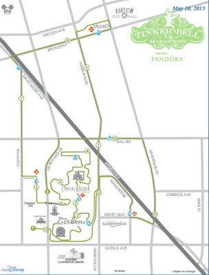 2015 Tinker Bell Half Marathon course map