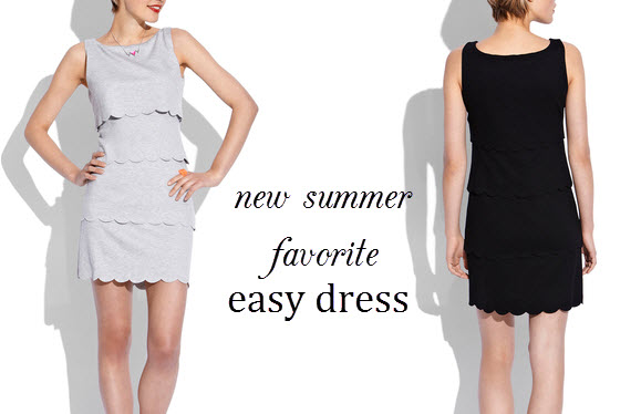 tiered shift dress, Philosophy by Republic shift dress, gray dress, black dress, scalloped dress