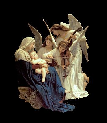 imagen vintage png Virgen y ángeles de Bouguereau