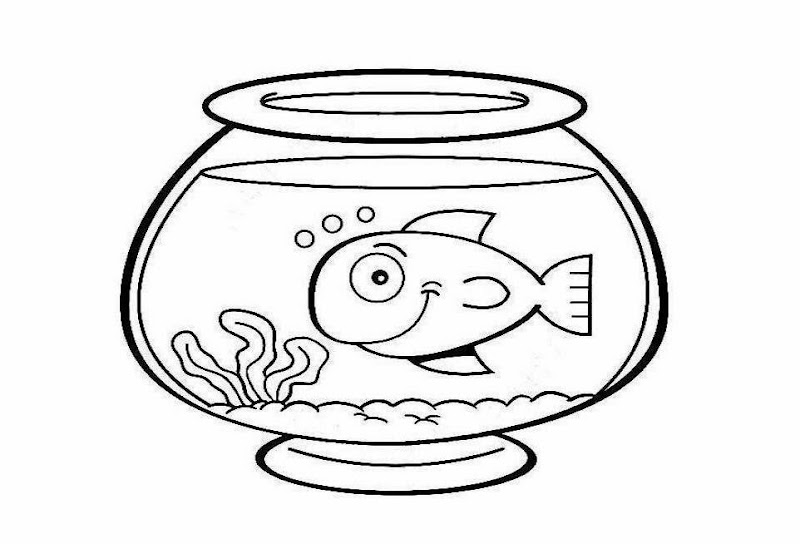 Fish Bowl Coloring Drawing Free wallpaper title=