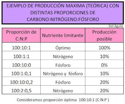 Ejemplo proporción carbono nitrógeno fósforo