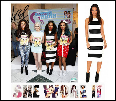 Black, Bodycon, Dress, Leigh-Anne Pinnock, Little Mix, Midi Dress, Missguided, Monochrome,  Sleeveless, Striped, White
