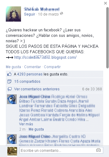 Falso hack de Facebook