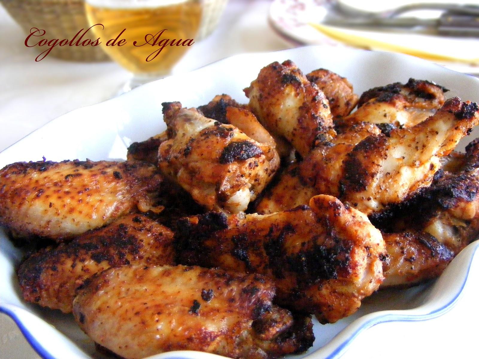Alitas de pollo tandoori masala cogollos de agua - Adobo de alitas de pollo ...
