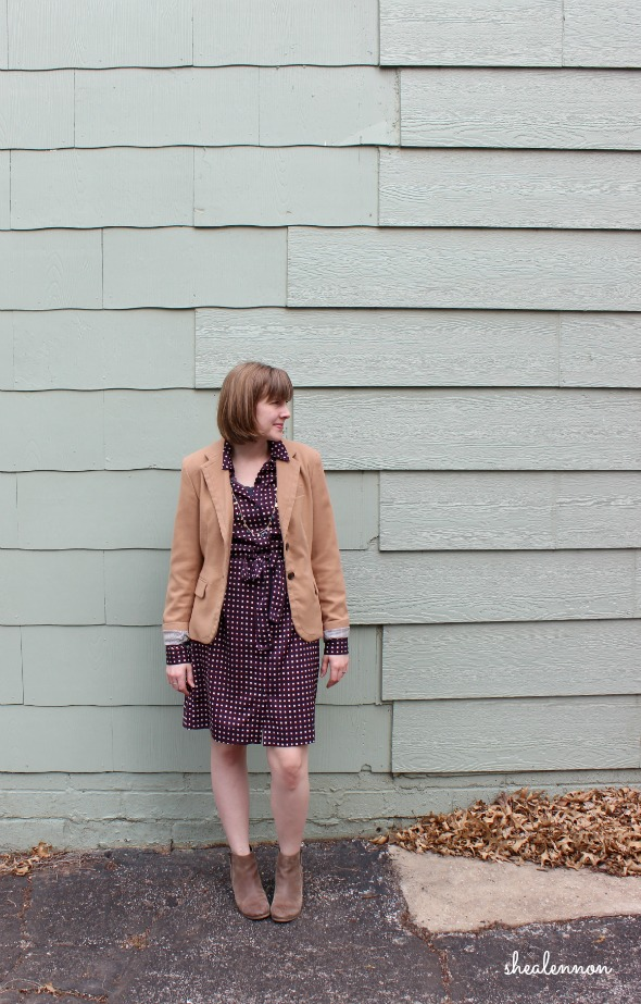Blazer, shirtdress and ankle boots for spring.