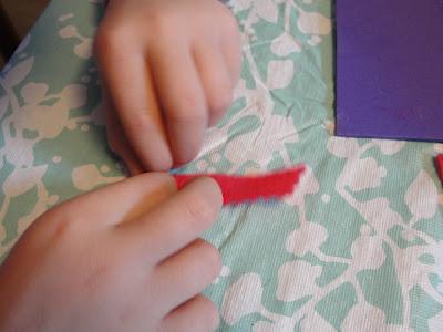 rolling felt into a flower shape