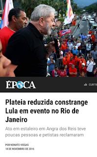 Plateia reduzida constrange Lula em evento no Rio de Janeiro
