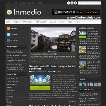 Inmedio blog template. template image slider blog. magazine blogger template style