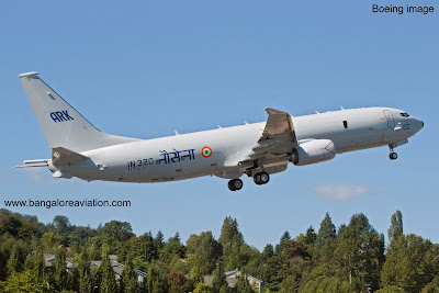 Indian Navy Boeing P-8i IN320 takes-off on its first flight