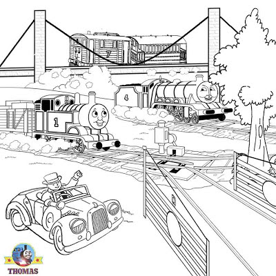Sodor railroad free online coloring Thomas the train Gordon Toby and Henrietta coach printable image