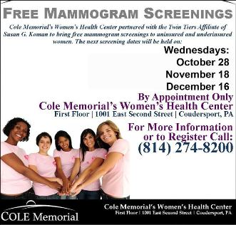 11-18, 12-16 Free Mammogram Screenings