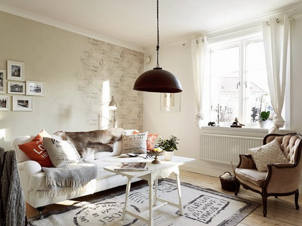 Apartment Design Within Shabby Chic Style Living Room