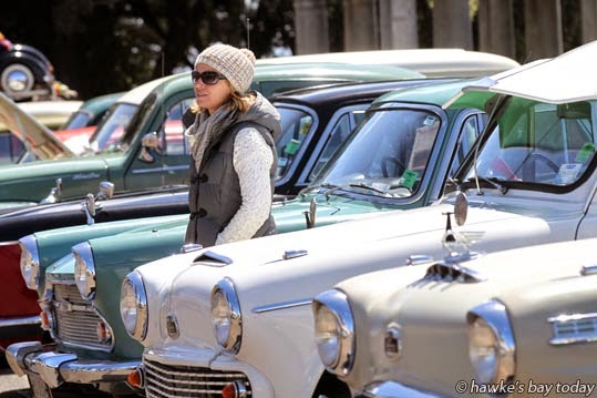 Nikki Lines, Auckland, at an Austin Flying 'A' Enthusiasts Club car show at The Sound Shell, Napier. photograph