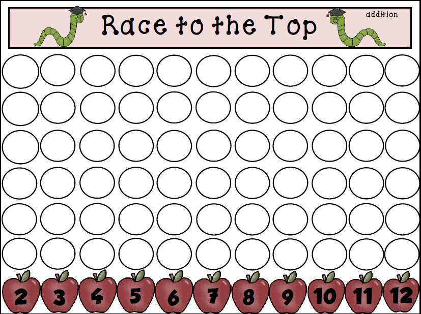 Teachers Take Out  Race to the Top   Addition Game Freebie