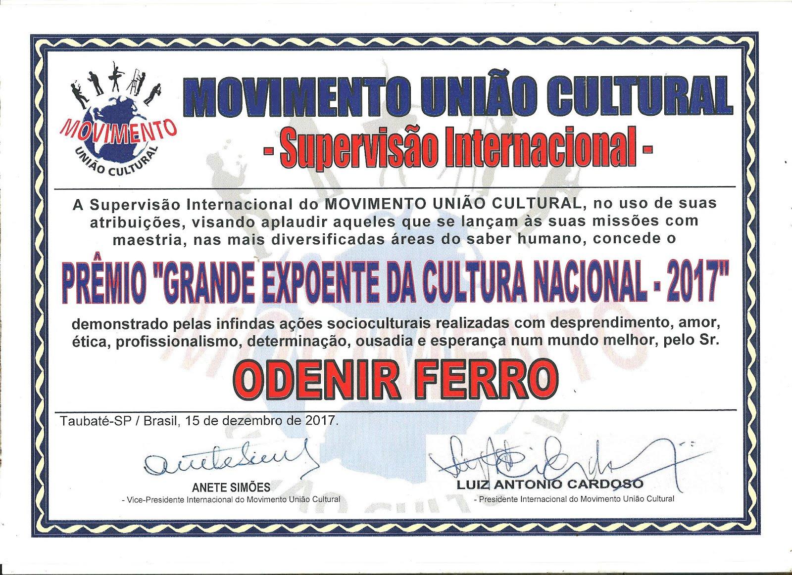 MOVIMENTO UNIÃO CULTURAL - Supervisão Internacional -