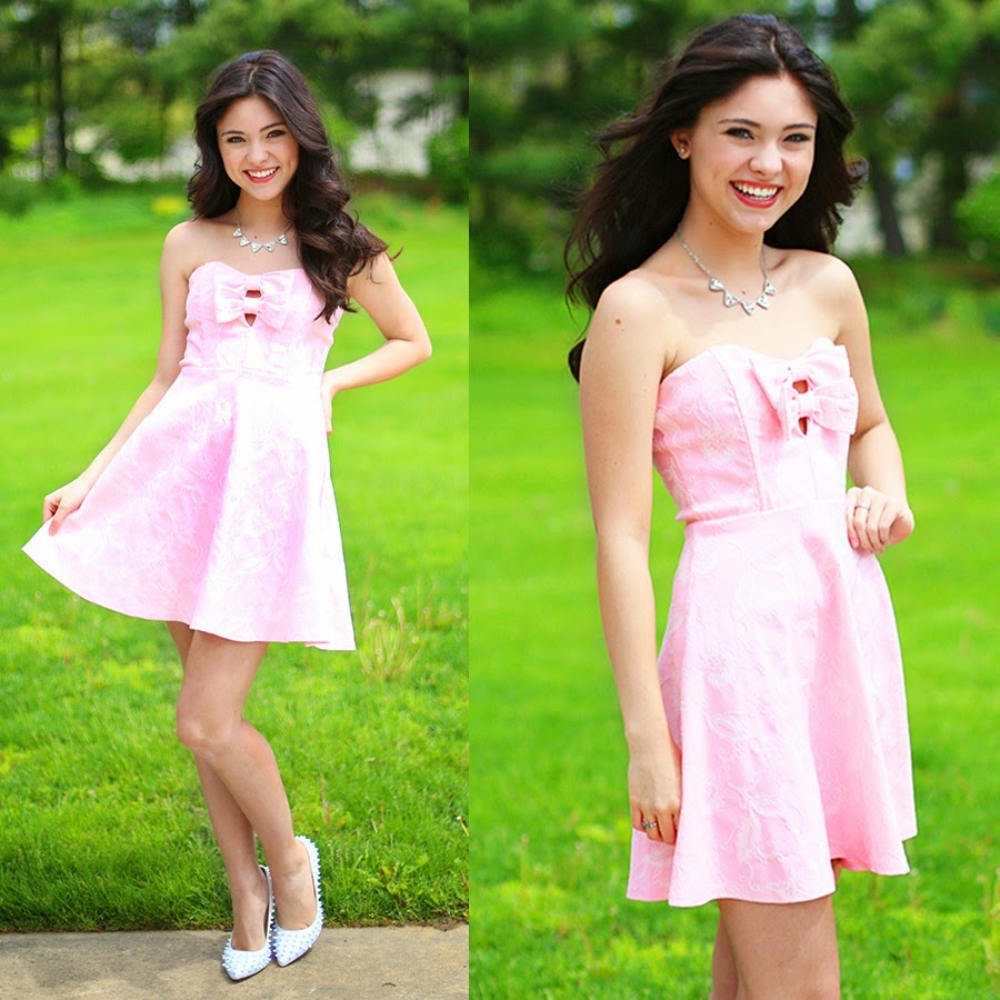 Bow Pink Dress Summer