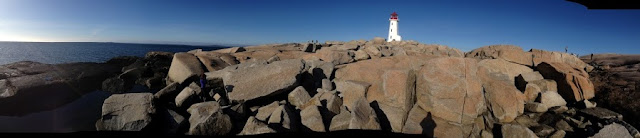 Climbing in Peggy's Cove, Nova Scotia