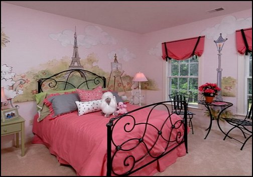 Pink poodles paris style bedroom decorating paris style for Room decor ideas paris
