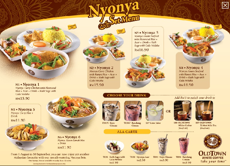 Food street old town nyonya set menu for Kitchen set restoran