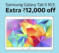 Exclusively for Flipkart First Customers: Samsung Galaxy Tab S 10.5 (Dazzling White, 16GB, Wi-Fi Only) just for Rs.22999 Only