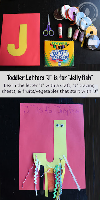 Toddler/Preshooler letter of the week craft J is for Jellyfish with related craft, tracing sheets and fruits/vegetables.