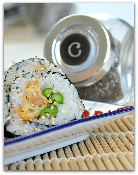 Homemade Shrimp Temupra Sushi Roll with Asparagus, Sesame, and Chia!