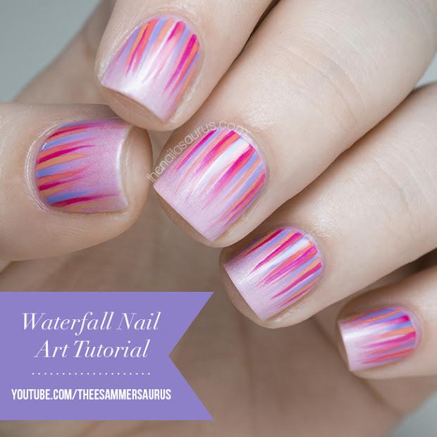 waterfall nail art tutorial video
