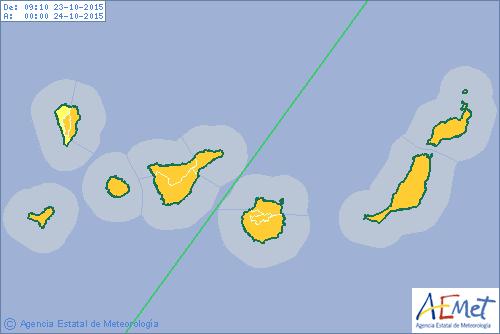 Aviso naranja fuertes lluvias para Canarias  decretado por la AEMET 23 octubre