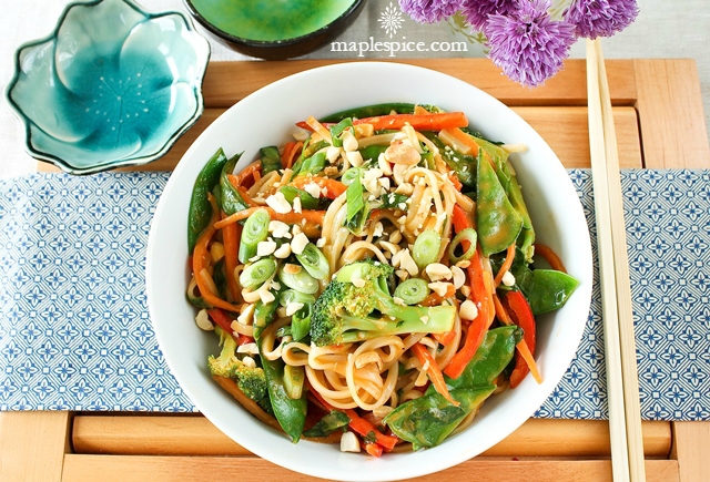 Rice Noodle Stir Fry with Peri-Peri Coconut Cream Sauce. Vegan and Gluten-Free Recipe.