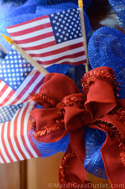 Deco Mesh, Patriotic, Red White Blue, Memorial Day Wreath, Wreath, How to, American Flag, Tutorial, Burlap