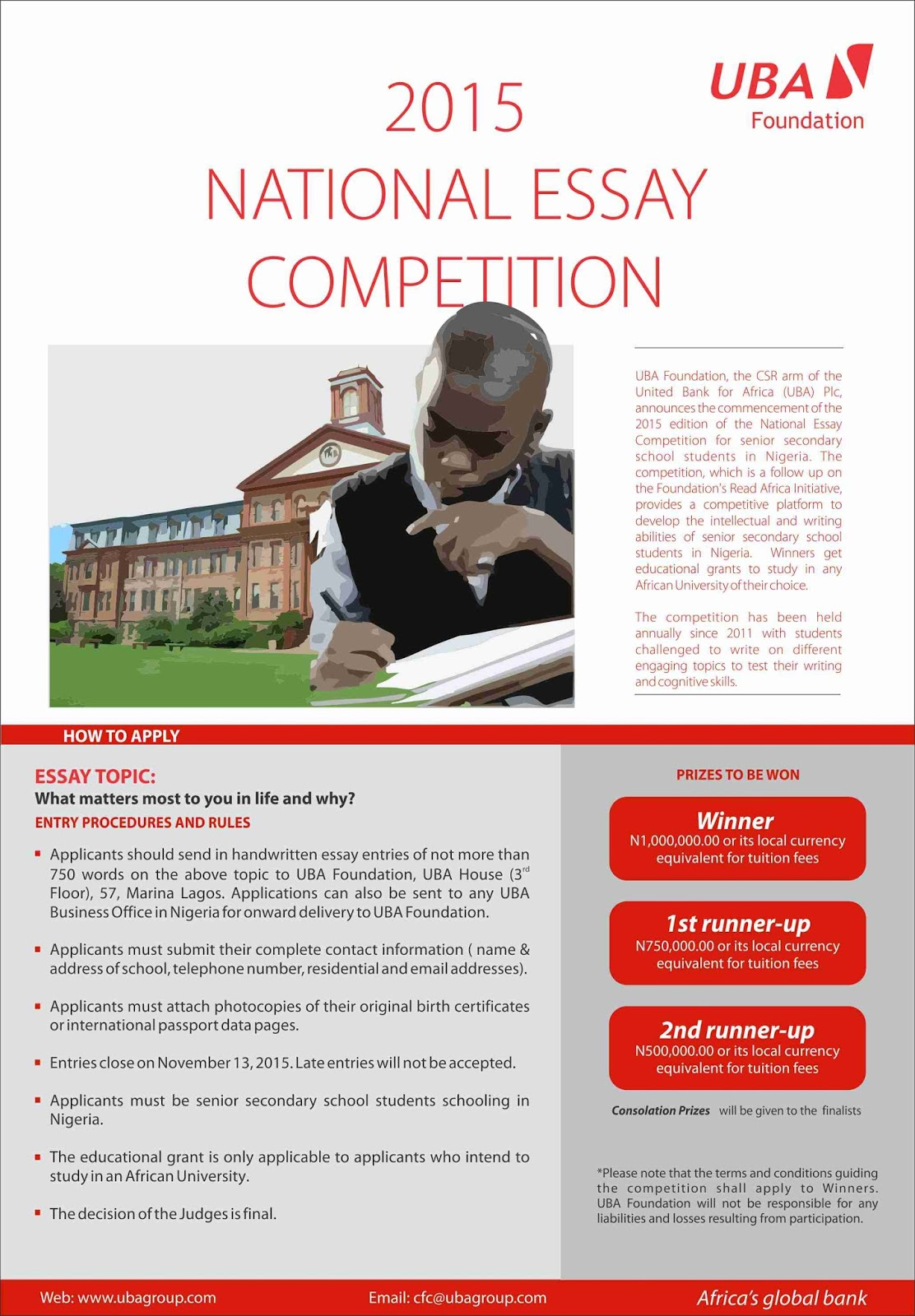 uba foundation opens entries for national essay competition the uba foundation opens entries for national essay competition