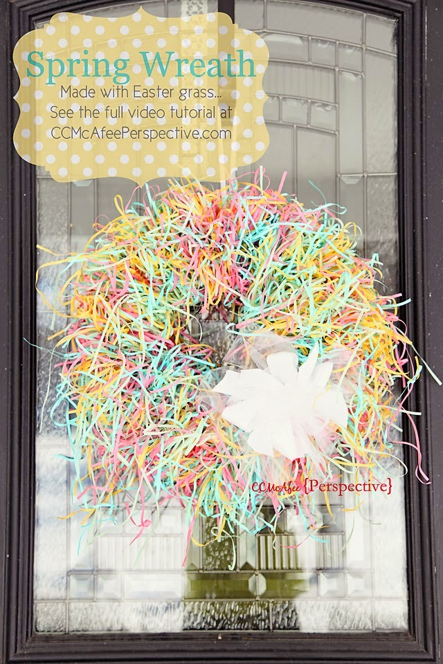Easter grass spring wreath