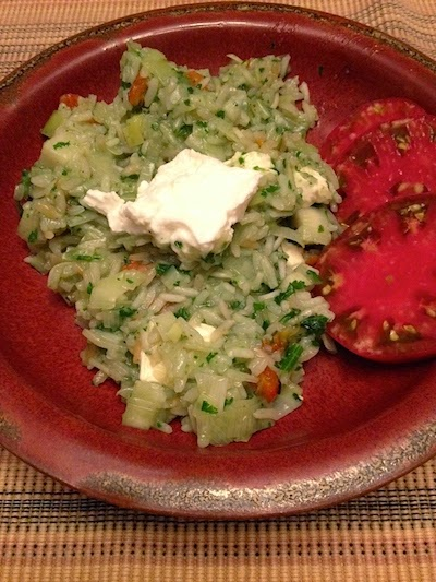 Leeks and Chiles in Green Rice by Future Relics Pottery